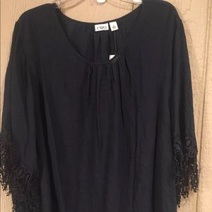 Cato Tops - Navy Blue Top w/Fringe Sleeves Sz XL by Cato